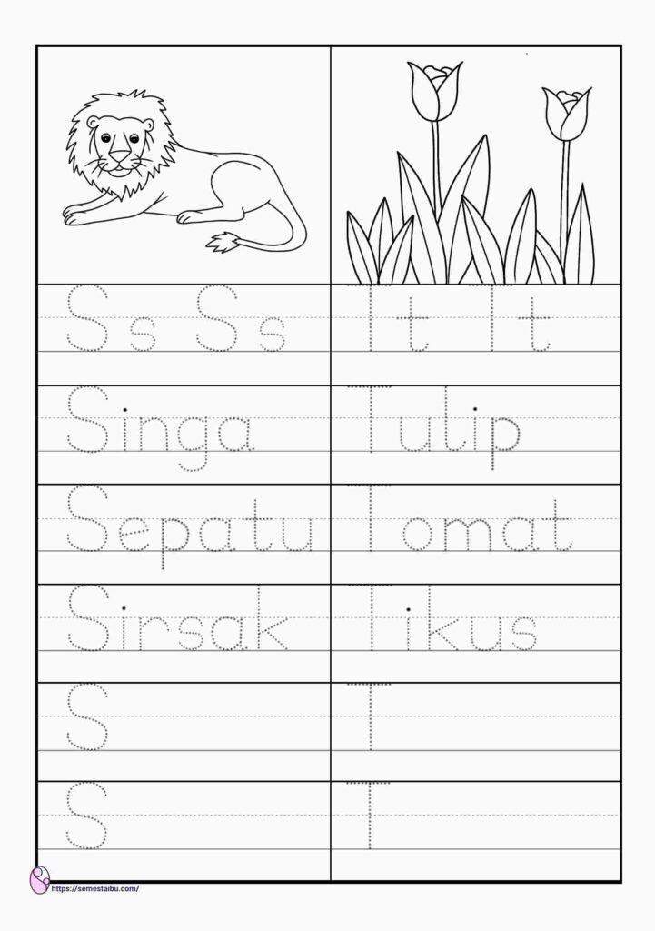 Lembar kerja anak tk tema tanaman dan hewan