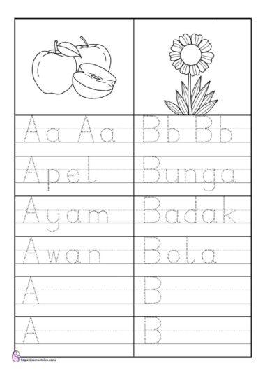 lembar kerja anak tk - menulis kata