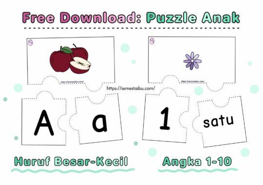 lembar kerja anak tk - puzzle huruf angka