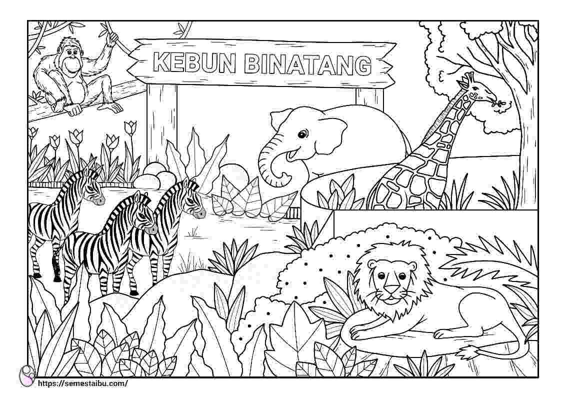 Gambar Mewarnai Tempat Rekreasi Kebun Binatang