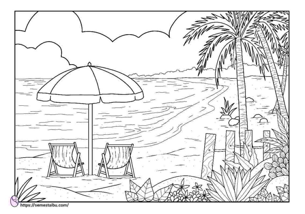 Gambar mewarnai pantai