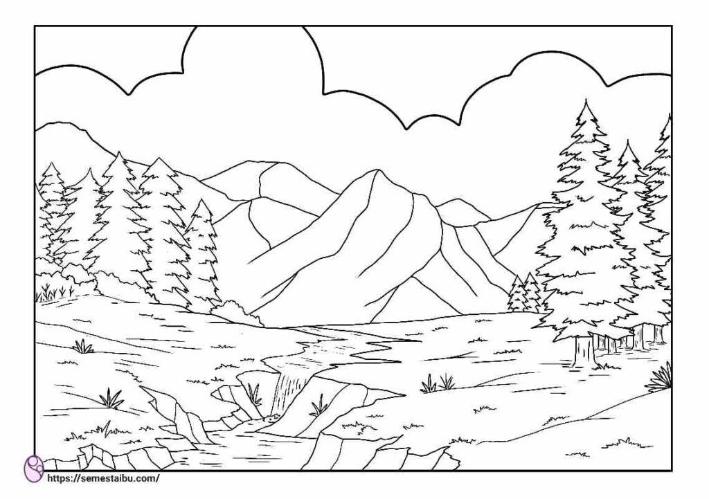 Gambar mewarnai pegunungan
