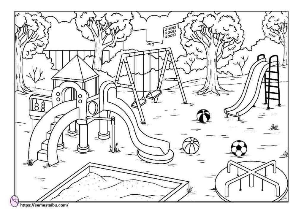 Gambar mewarnai tempat rekreasi - taman bermain
