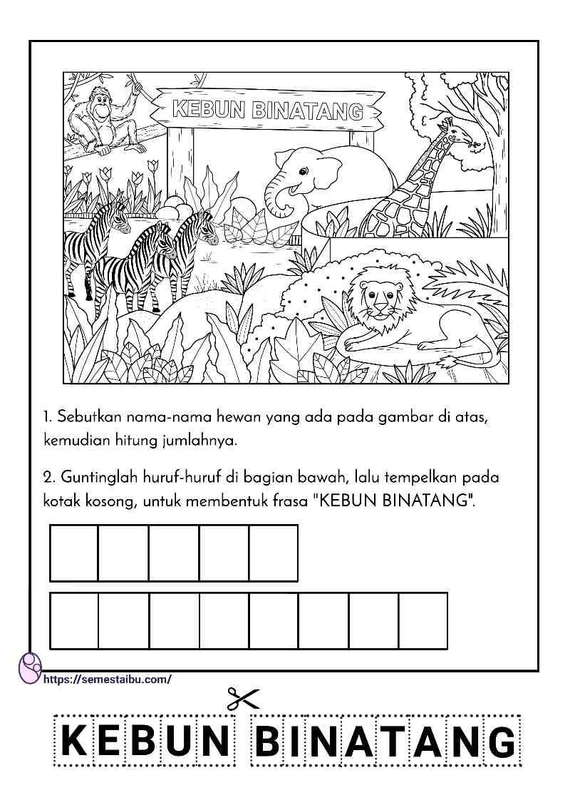 Lembar kerja anak tk paud tema binatang