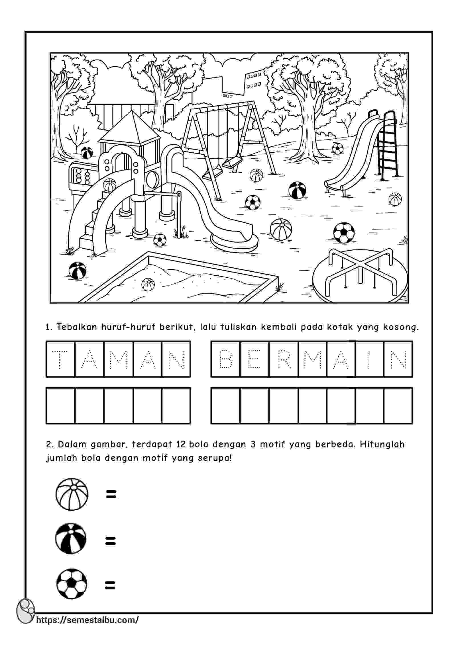 Lembar kerja anak tk paud tema rekreasi