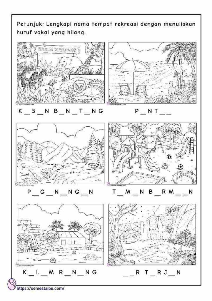 Lembar kerja bahasa untuk anak tk - tema tempat rekreasi
