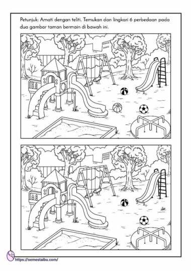 lembar kerja anak tk - mencari perbedaan gambar