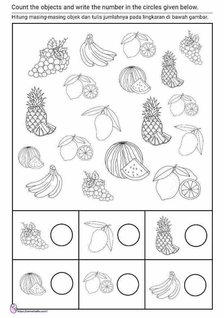 lembar kerja anak tk berhitung - tema buah - kognitif lembar kerja anak tk