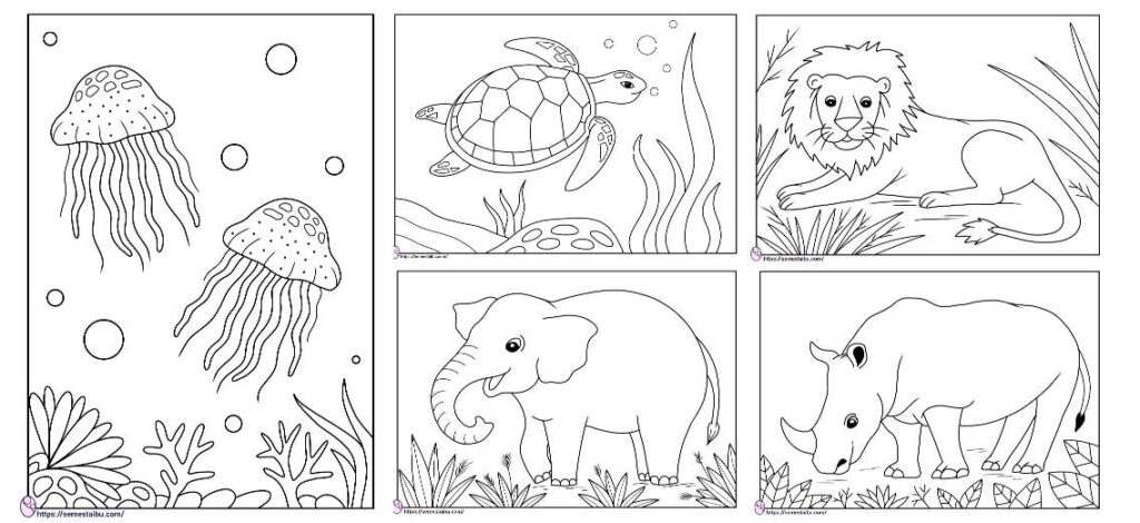 Gambar mewarnai hewan - anak TK SD