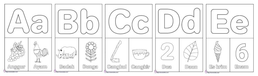 Gambar mewarnai huruf abjad A-Z