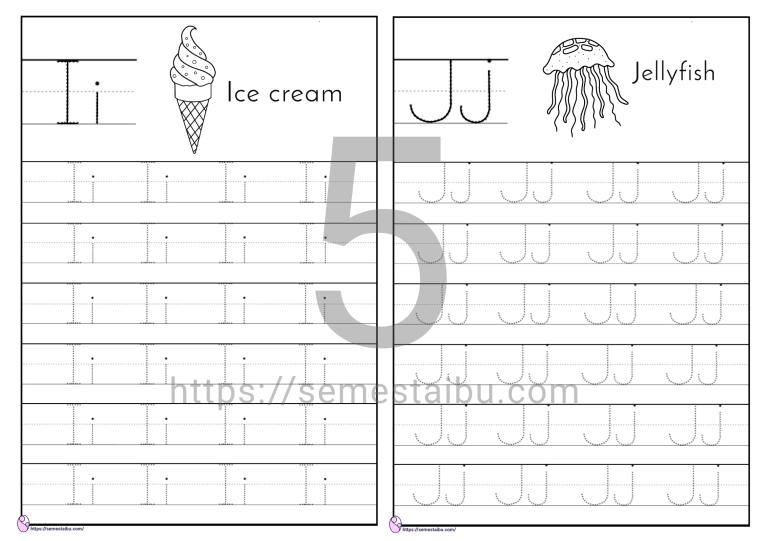 Kindergarten worksheet - Menebalkan huruf paud - lembar kerja anak tk