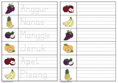 Lembar kerja anak tk menulis - tema buah