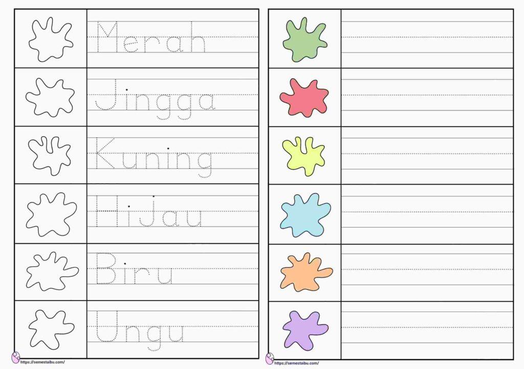 Lembar kerja anak tk menulis - warna