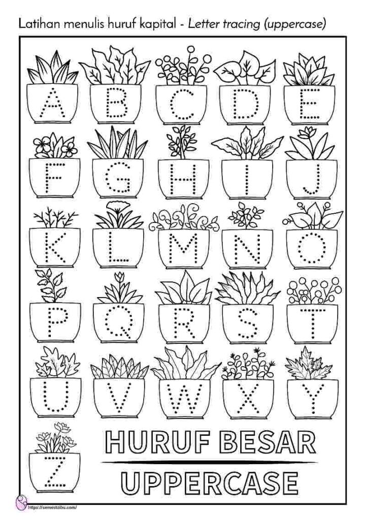 Lembar kerja anak tk menulis - menebalkan huruf paud