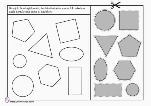 Mencocokkan gambar untuk anak tk - geometri - menggunting dan menempel
