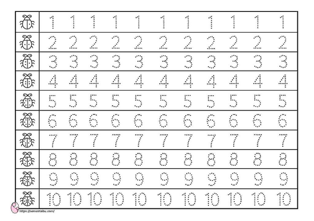 lembar kerja anak tk menulis, menebalkan angka