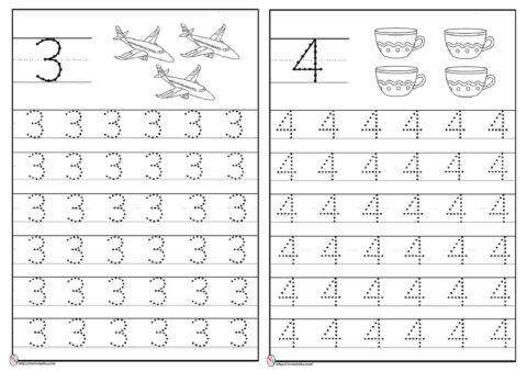 Menebalkan angka 3 dan 4