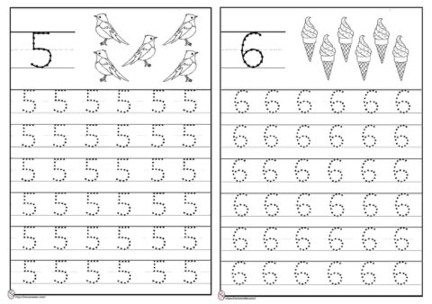 Menebalkan angka 5 dan 6
