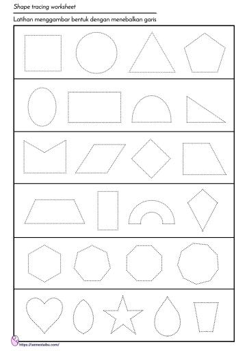 Menggambar bentuk - menarik garis untuk anak tk - geometri
