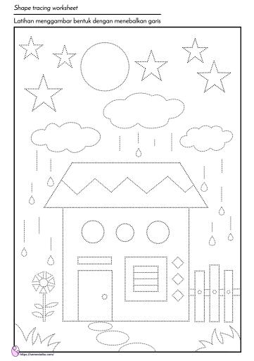 lembar kerja anak tk - menggambar bentuk
