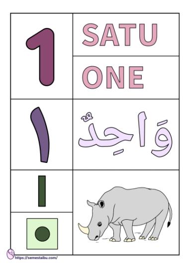 lembar kerja anak tk - flashcard angka