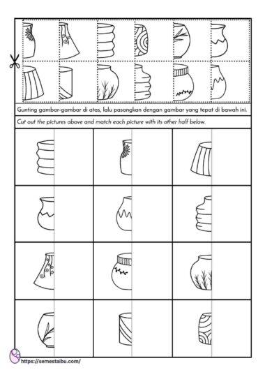 lembar kerja anak tk - mencocokkan gambar