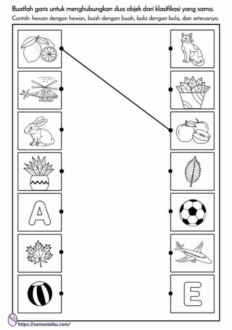 kognitif lembar kerja anak tk, mencocokkan gambar untuk anak tk