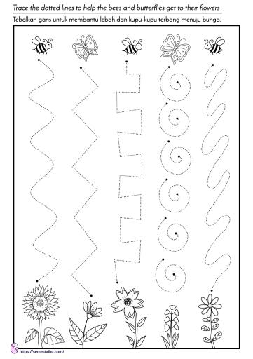 lembar kerja anak tk - menebalkan garis