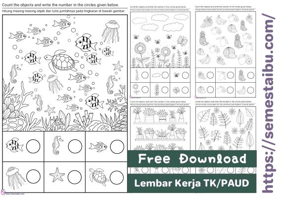 Lembar kerja anak tk, kognitif, berhitung tema tanaman, hewan