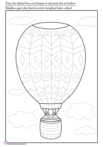Lembar kerja anak tk - menebalkan garis - tema kendaraan - balon udara