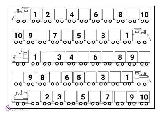 kognitif lembar kerja anak tk - melengkapi angka yang hilang