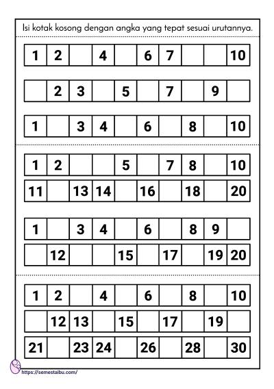 kognitif lembar kerja anak tk, melengkapi angka yang hilang