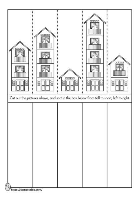short and tall worksheets - cut and paste