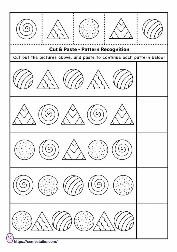 Cut and paste worksheets - pattern recognition