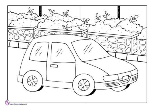 lembar kerja anak tk - gambar mewarnai kendaraan