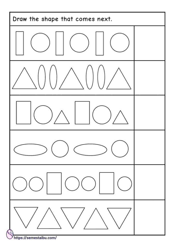 Kindergarten worksheets - pattern recognition - drawing shapes