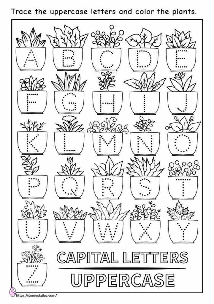 Letter tracing - kindergarten worksheets - coloring plants