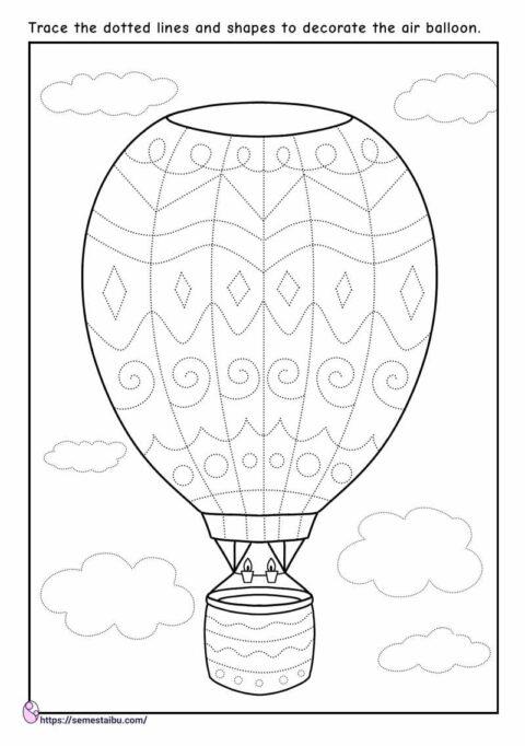Line tracing - fine motor skills - air balloon