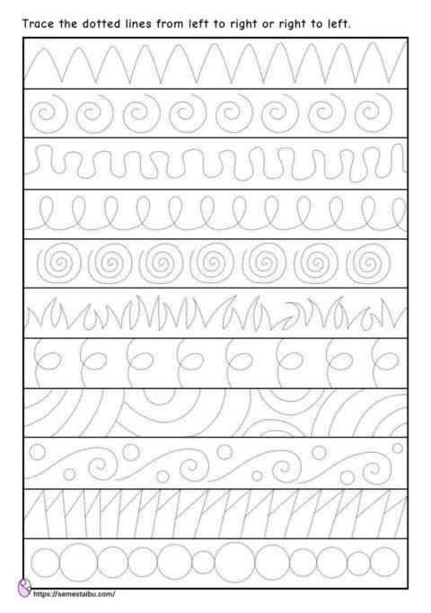 Line tracing worksheets - fine motor skills