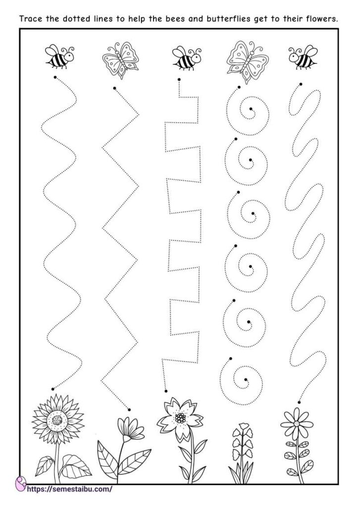 Line tracing - kindergarten worksheets