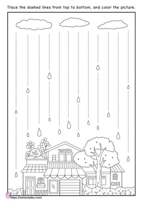 Line tracing - vertical - kindergarten worksheets