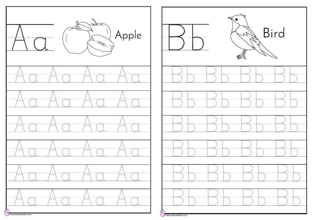 lembar kerja anak tk - menulis huruf abjad