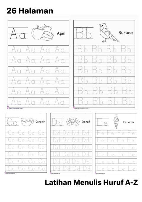 Menebalkan huruf abjad a-z - Lembar kerja anak tk menulis
