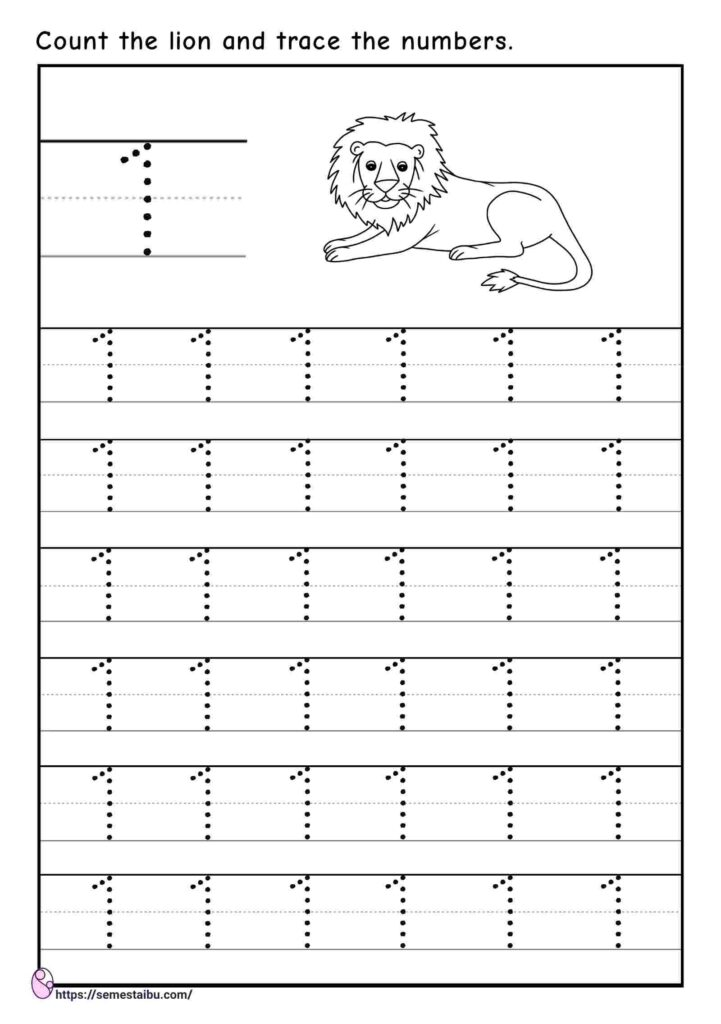 Tracing number 1 - kindergarten worksheets