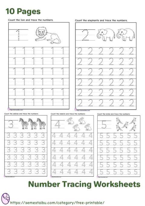 Number tracing 1-10 - kindergarten worksheets