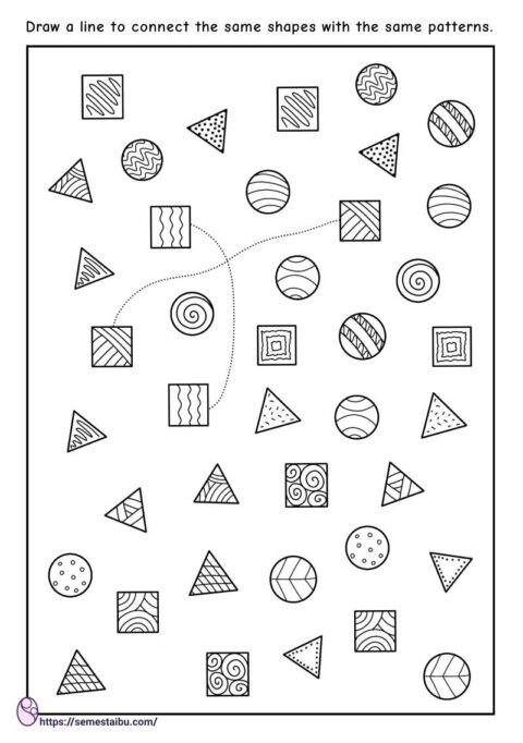 Preschool worksheets - matching picture - same and different shapes