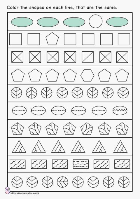 Same and different worksheets - shapes - visual discrimination