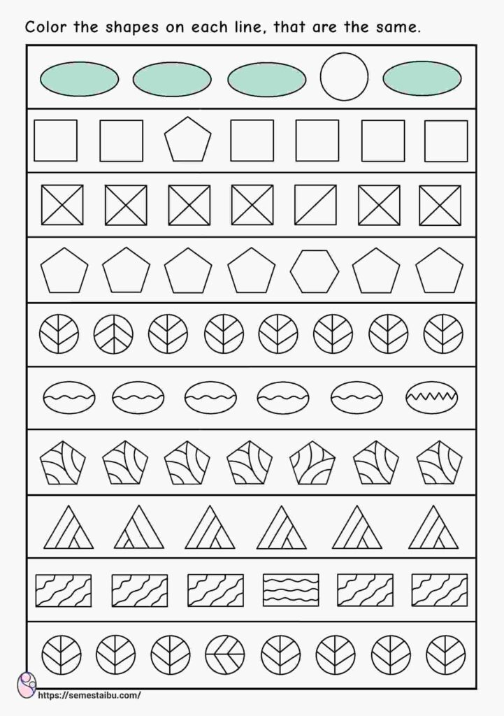 Same and different worksheets - shapes - visual discrimination