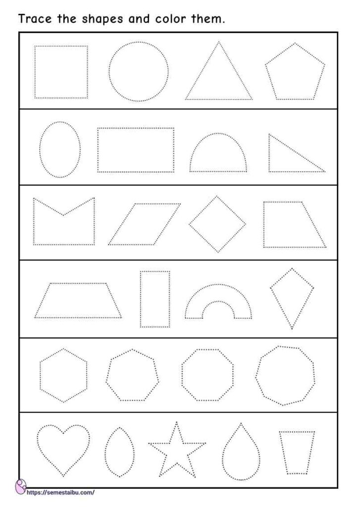 Shape tracing worksheets - various types