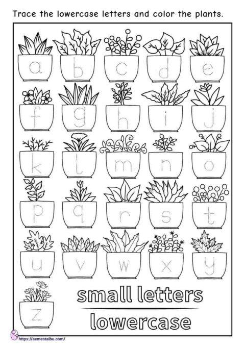 Letter tracing - lowercase - kindergarten worksheets